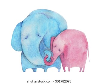 Elephants. Mother and child. Watercolor illustration. Hand drawing