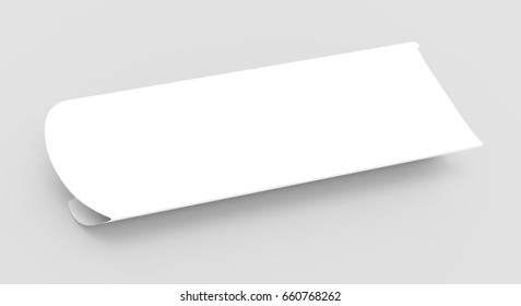 elevated view white 3d rendering left tilt blank pillow open box, isolated gray background