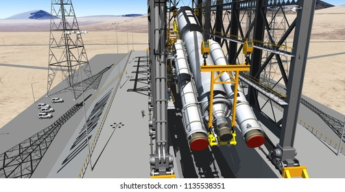 Elevating Launch Vehicle To Firing Position - 3D Illustration