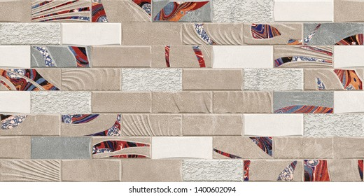 Elevation brick stone wall, An Old Grunge Red Brick Wall, Decorative Wall elevation Digital design stone tile.