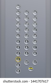 Elevator buttons keyboard, 3D rendering