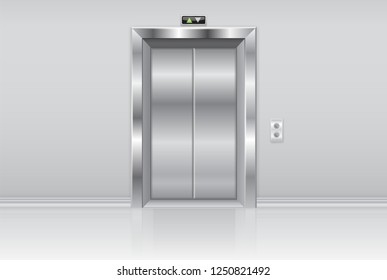 Elevator doors. Metal closed doors on the wall. 3d illustration. Raster version