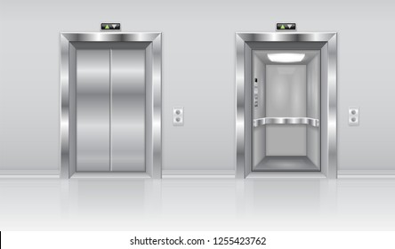 Elevator doors. Metal closed and open doors on the wall. 3d illustration. Raster version