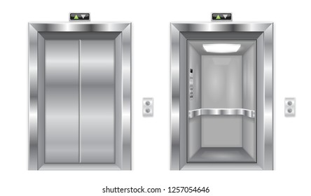 Elevator doors. Metal closed and open doors. 3d illustration isolated on white background. Raster version