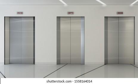 Elevator front door wall. 3D rendering,illustration