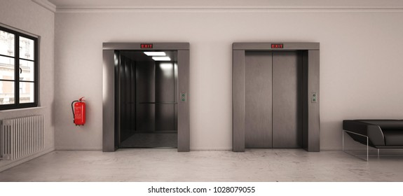 Elevator hall with seating (3d rendering)