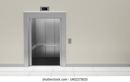 elevator lift metal up down cabin 3D illustration