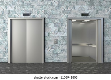 Elevator with opened and closed doors. 3d illustration
