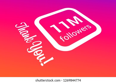 Eleven Million Followers, 11000000, 11M, Thank You, Number, Colored Background, Concept Image, 3D Illustration