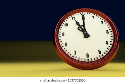 eleven o'clock big clock rush watch yellow background 3D illustration