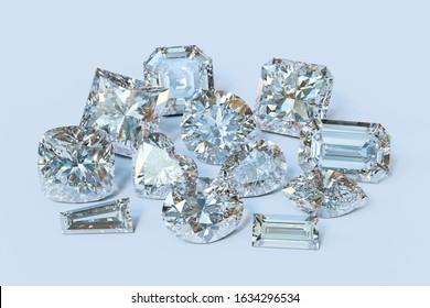 Eleven popular cut diamonds on light blue background. 3D illustration