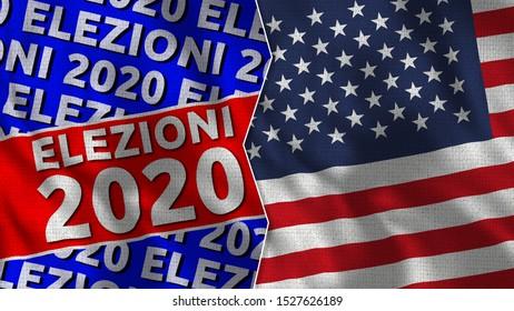 Elezioni 2020 Title and Usa Flag - 3D Illustration - Italia Language Translation: Election 2020