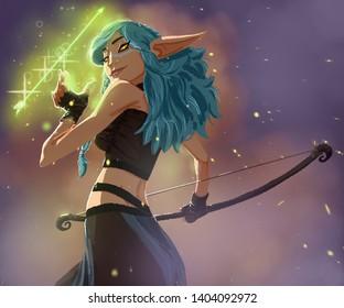 elf arrow girl bow fantasy womam magic