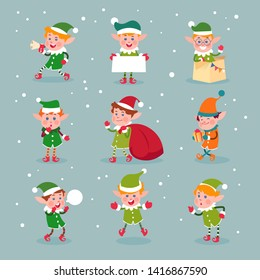 Elf. Cartoon santa claus helpers, dwarf christmas fun elves characters isolated. Elf and helper, christmas dwarf character illustration