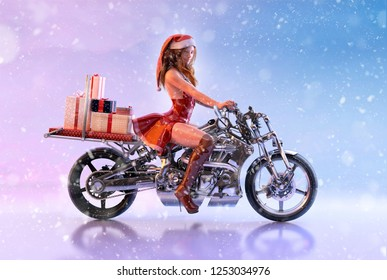 Elf girl biker in red dress and Santa hat, helper of Santa Claus, carrying christmas gifts boxes on a motorcycle on the eve of Christmas. Funny christmas or new year greeting card concept. 3D render