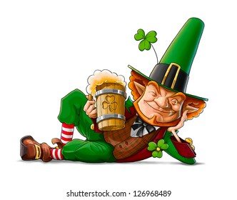 elf leprechaun with beer for saint patrick's day