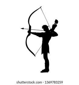 Elf silhouette ancient mythology fantasy. JPG illustration.