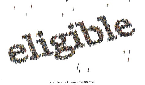 Eligible word. Crowd from above.