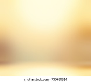 Elite empty room. Background golden blurred. Empty room background. Wall and floor golden glow abstract texture. Defocused room background. 3d illustration empty room interior.