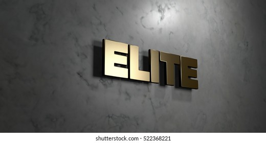 Elite - Gold sign mounted on glossy marble wall  - 3D rendered royalty free stock illustration. This image can be used for an online website banner ad or a print postcard.