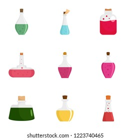 Elixir potion icon set. Flat set of 9 elixir potion icons for web design