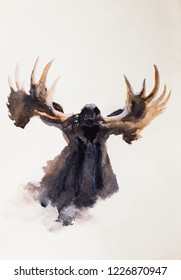 Elk, portrait. Summoned head up. Huge spreading horns. Watercolor drawing. Sketch. Moose. White background.