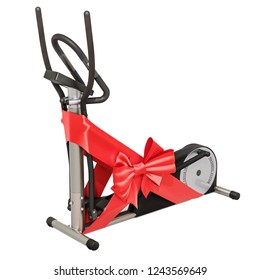 Elliptical trainer with bow and ribbon, gift concept. 3D rendering isolated on white background