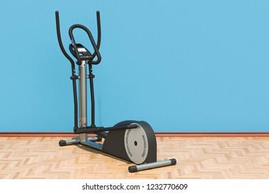 Elliptical trainer in room on the wooden floor, 3D rendering