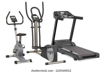 Elliptical trainer, treadmill and exercise bike. 3D rendering isolated on white background