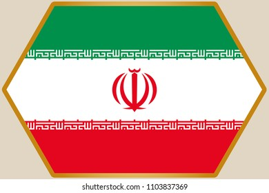 An elongated Hexagon with the Flag of Iran