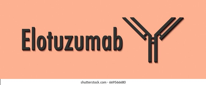 Elotuzumab monoclonal antibody drug. Targets SLAMF7 (CD319) and is used in the treatment of multiple myeloma. Generic name and stylized antibody.