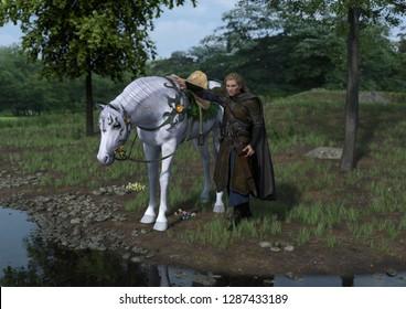 Elven Warrior 3D Illustration