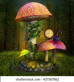 Elves enchanted mushrooms place - 3D illustration