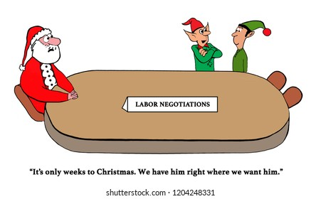 Elves are negotiating with Santa