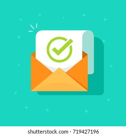 Email confirmation illustration, flat cartoon envelope with confirmation letter document, checked or accepted message icon, approved document concept or e-mail checklist clipart image