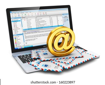E-mail and internet web communication office business work concept: laptop with email client software program and heap of airmail letter envelopes with shiny golden AT symbol isolated on white