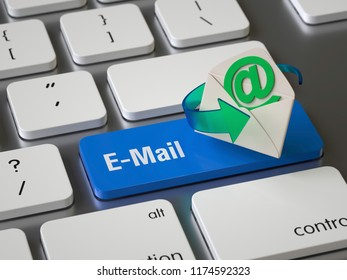 Email key on the keyboard, 3d rendering,conceptual image.