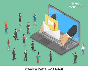 E-mail marketing flat isometric concept. Hands from the laptop shows a letter with promotion sign in it to the audience. Digital advertising campaign.