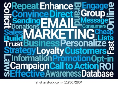 Email Marketing Word Cloud on Blue Background