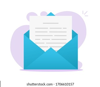 Email message text letter or electronic digital mail document file icon flat cartoon isolated image