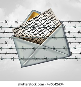 Email protection internet data security as a letter with binary code message trapped in a fence of barbed wire with 3D illustration elements.