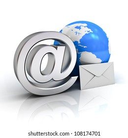 Email sign, blue globe map and envelope on white background with reflection