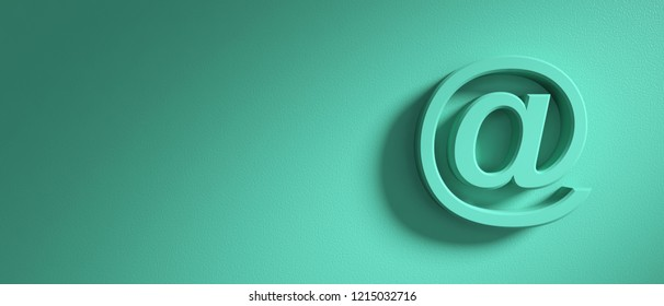 Email sign on pastel green wall background, banner, copy space. 3d illustration