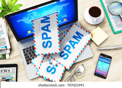 E-mail, spam and junk mail internet web concept: 3D render of top view of heap of letters in envelopes falling from screen of modern office laptop or business notebook computer PC on the office table