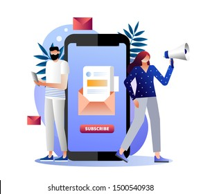 Email subscribe illustration concept, email marketing system, people use smartphone and subscribe and received newsletter, can use for, landing page, template, ui, web, mobile app, banner