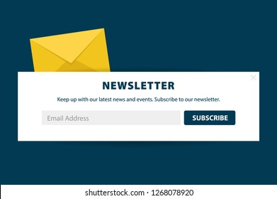Email subscribe, online newsletter, submit button. Envelope and subscribe button. UI UX design. illustration