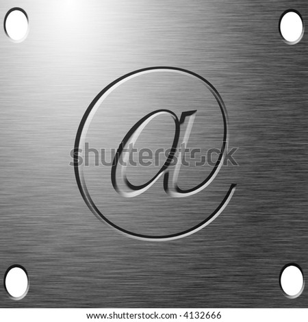 email symbol etched on metal plate stock illustration 4132666