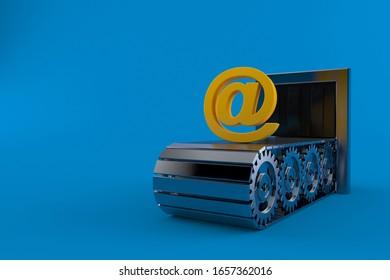 E-mail symbol on conveyor belt isolated on blue background. 3d illustration