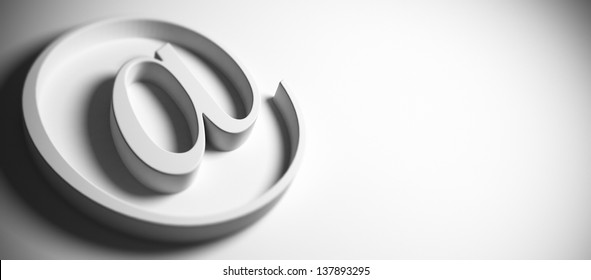email symbol, at sign, grey background, panoramic image blur effect and copy space on the right, 3D render