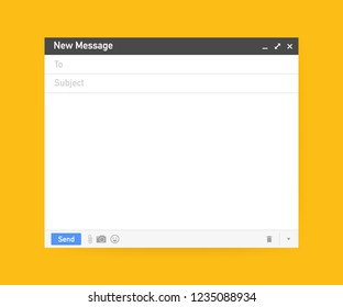 Email template. Blank e-mail browser window. Mail message web page  frame.  stock illustration.